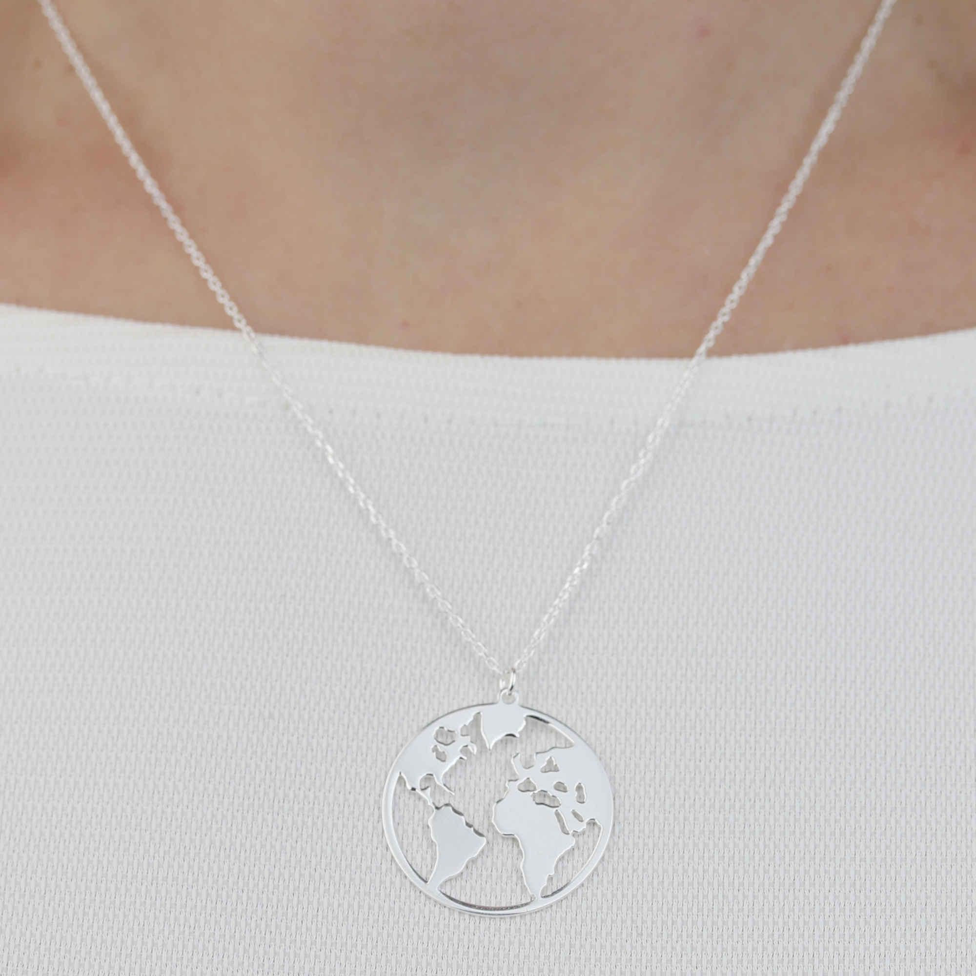 Kette Anhäger Weltkarte 925 Silber