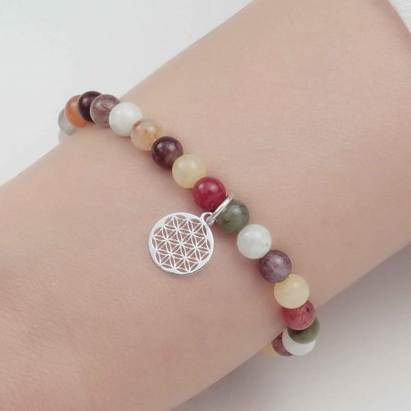 Lebensblume Elastisches Armband 925 Silber – Bergkristall - 6 mm