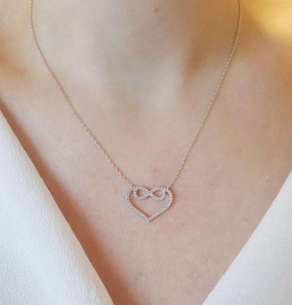 Halskette mit Anhänger Herz Unendlichkeit Infinity 925 Sterling Silber Zirkonia 40 cm