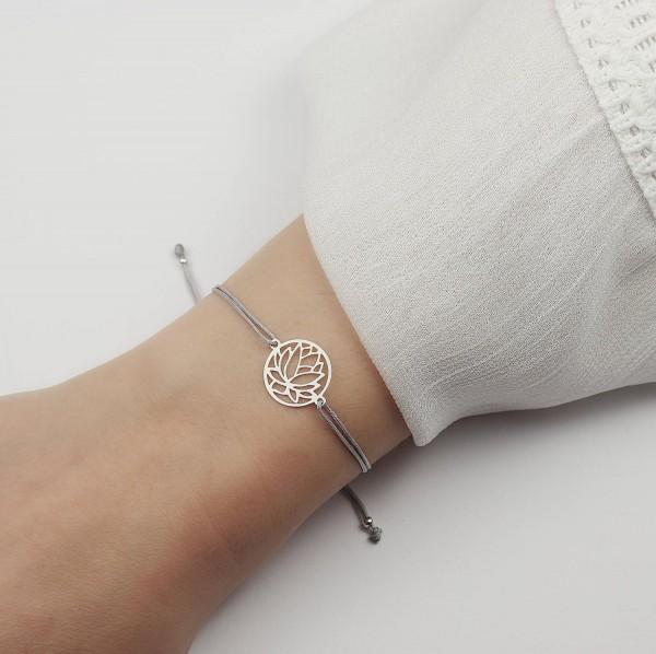 Armband Lotusblume 925 Silber Hellgrau | Lotosblüte Lotus Seerose