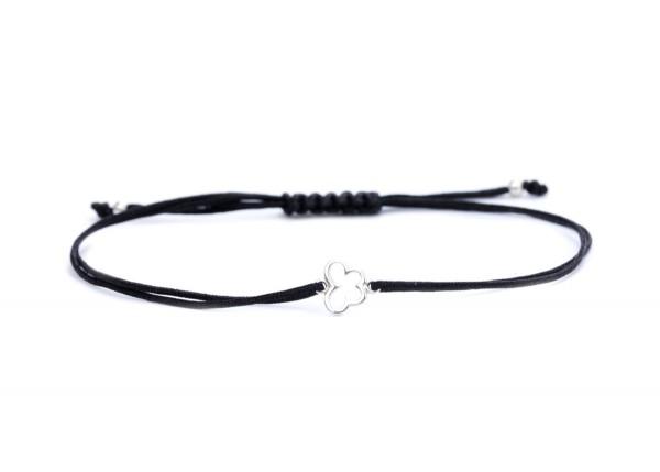Symbol Armband Schmetterling, Schwarz-Silber