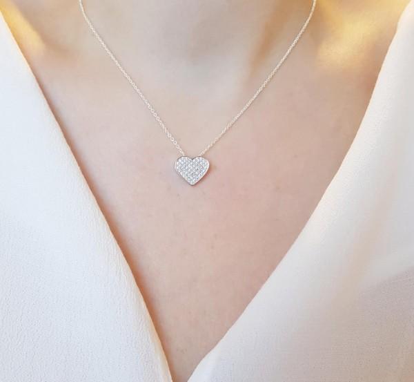Halskette mit Anhänger Herz Liebe 925 Sterling Silber Zirkonia 40 cm