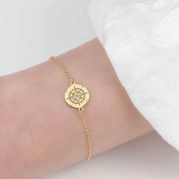 Armband Kompass 925 Silber vergoldet // Armkette Windrose Himmelsrichtungen Schmuck