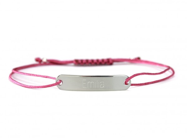 Gravurarmband mit personalisierter Gravur 925 Silber – Fuchsia | ID-Armband Namensarmband