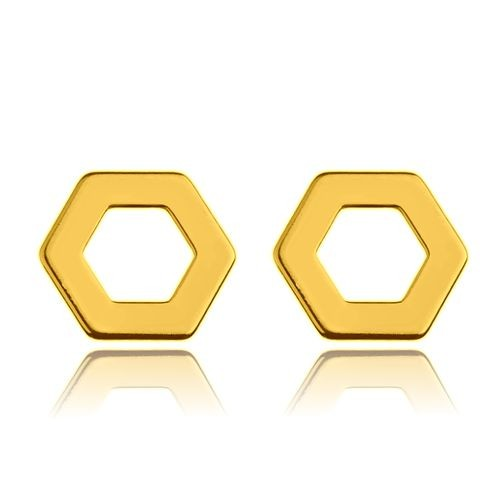 Ohrstecker Hexagon Sechseck 925 Silber vergoldet