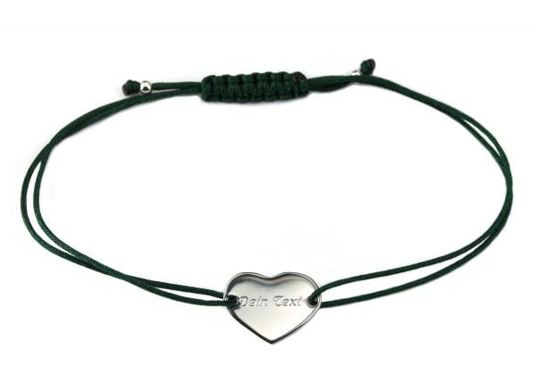 Armband Herz 925 Silber Dunkelgrün mit individueller Gravur | Schmuck personalisierbar 20 Farben