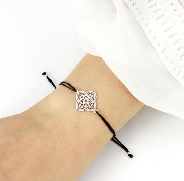 Armband Chakra Lotusblume Ornament 925 Silber Schwarz-Silber | 20 Bandfarben