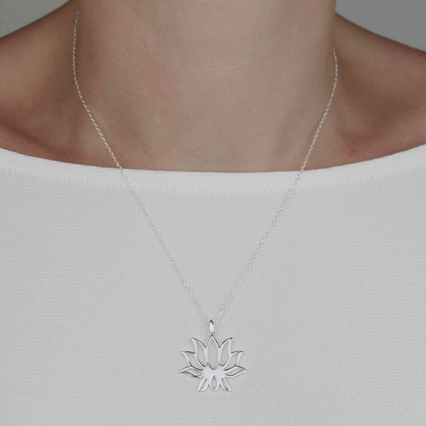 Halskette Lotusblume 925 Silber | Lotosblüte Lotus Seerose Schmuck
