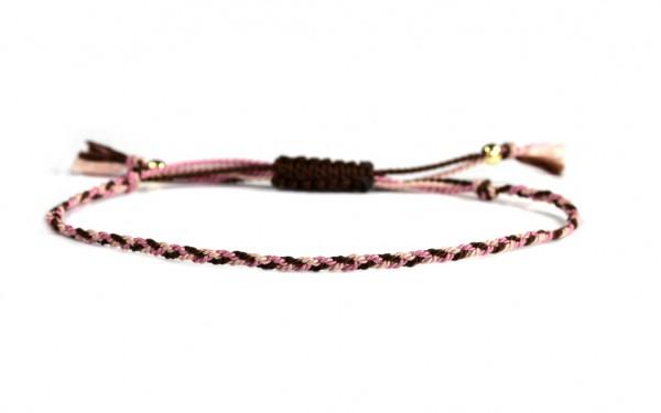 Handgeflochtenes Seide-Armband Braun-Rosa | Textilarmband