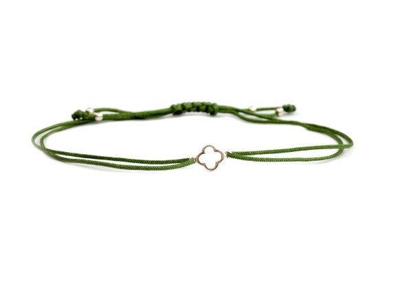 Textilarmband Kleeblatt Symbol, Silber-Grün | Glückssymbol