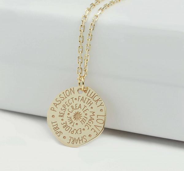 SONNE Halskette Inspiration Motivation Plättchen Anhängerkette 925 Silber