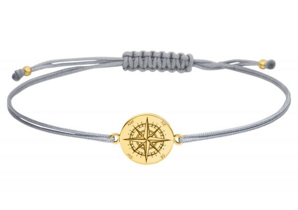 Armband Kompass 925 Silber vergoldet | Windrose Himmelsrichtungen