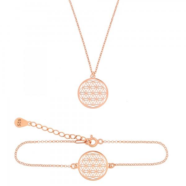 Schmuckset Blume des Lebens Halskette Armband 925 Silber rosevergoldet | Set Lebensblume Armkette