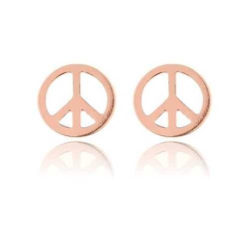 Ohrstecker Friedenszeichen Peace 925 Silber rosevergoldet | Hippie Ohrringe