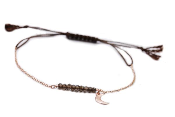 Armband Rauchquarz-Rosegold, 925 Silber rosevergoldet