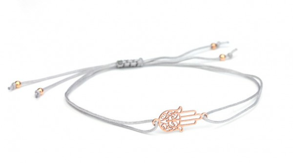 Symbol Armband Fatimas Hand Hamsa, Grau-Rosegold, 925 Silber rosevergoldet