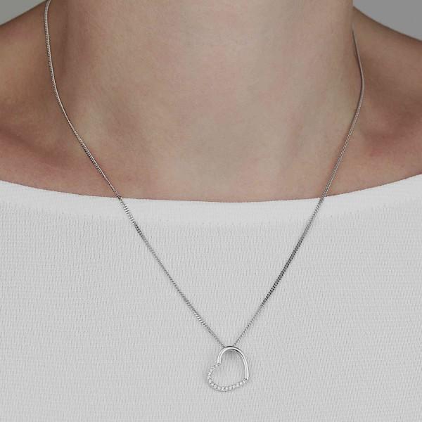 Halskette mit Anhänger Herz Zirkonia 925 Silber 45 cm