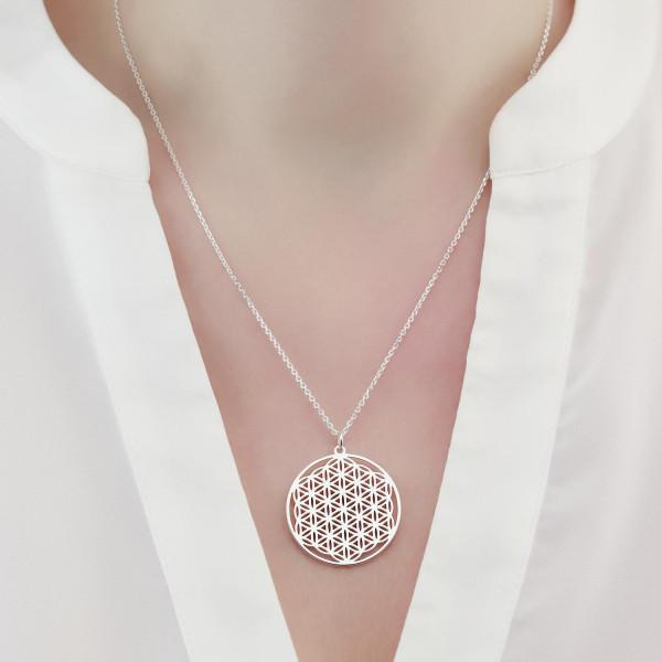 Halskette BLUME DES LEBENS Anhänger ø 25 mm Model 0.8 - Lebensblume
