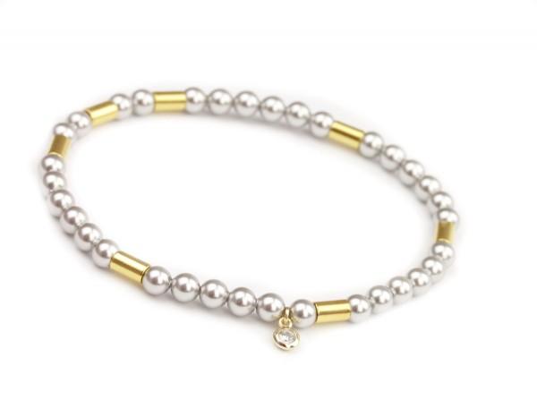 Perlen Armband Hellgrau-Gold