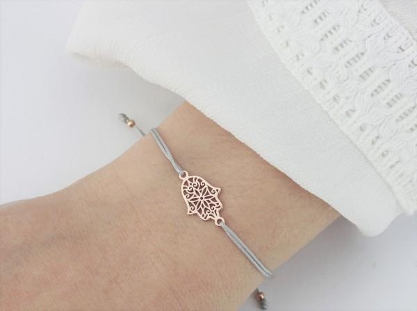 Armband Hamsa - Fatimas Hand 925 Silber rosevergoldet Rose-Hellgrau