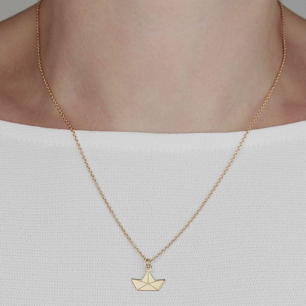 Halskette Papierboot Silber vergoldet | Kette Boot Papierschiff Origami Schmuck