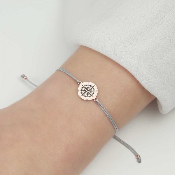 Armband Kompass 925 Silber rosevergoldet | Windrose Himmelsrichtungen