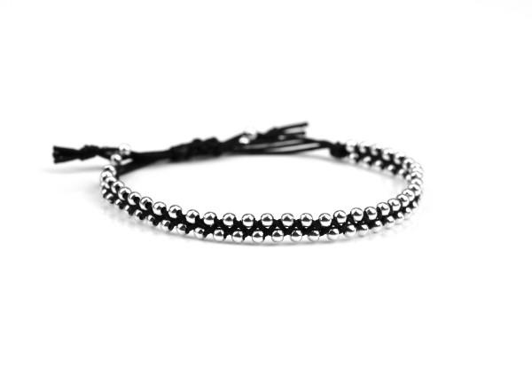 Geflochtenes Textil-Armband Schwarz Silber