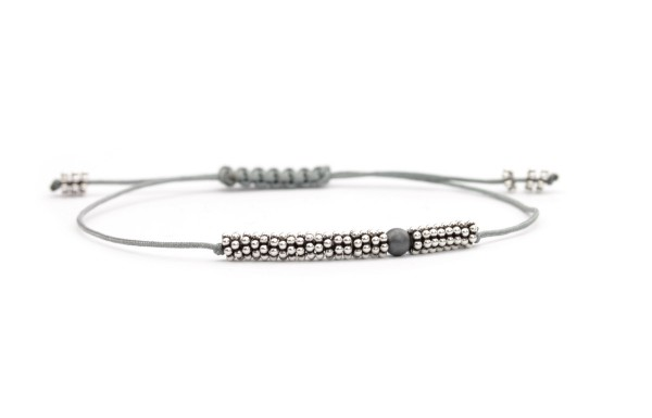 Textilarmband Grau-Silber, 925 Silber