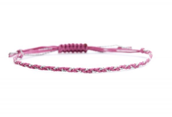 Handgeflochtenes Textilarmband Fuchsia-Silber | Individualisierbar 20 Farben