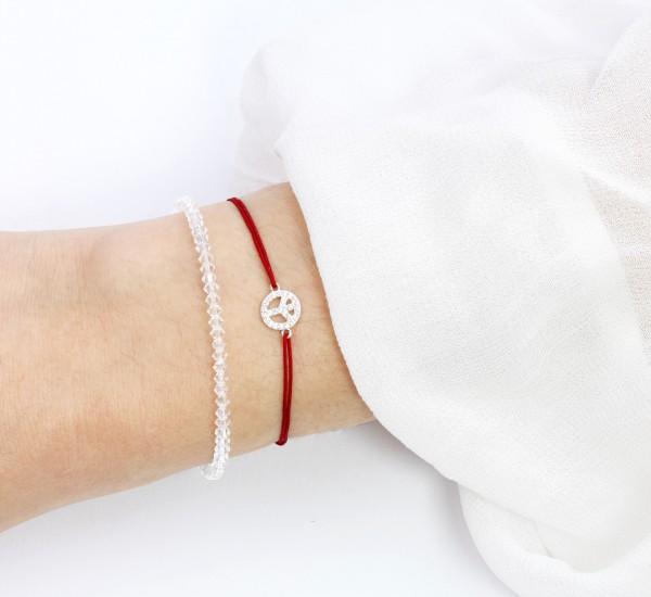 2er Armband Set, Rot-Transparent Peace Symbol 925 Silber
