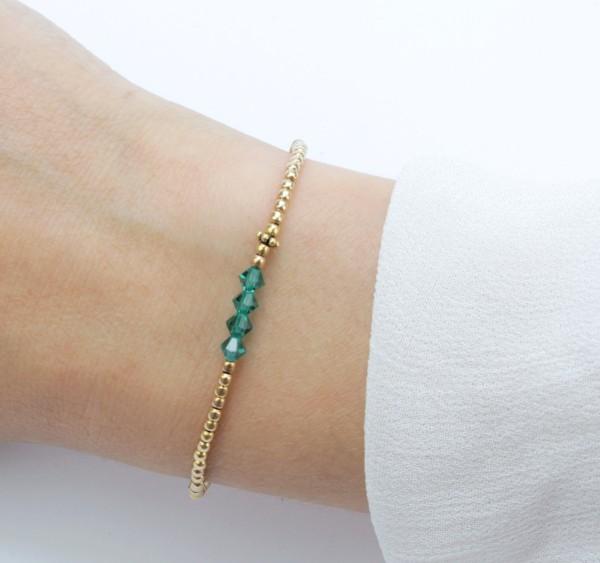 Armband Grün-Gold 925 Silber vergoldet | Silberperlenarmband elastisch