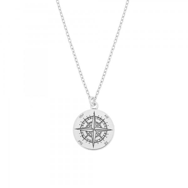 Halskette Kompass Anhänger 925 Silber mini ø 12 mm / Kette Windrose Himmelsrichtungen