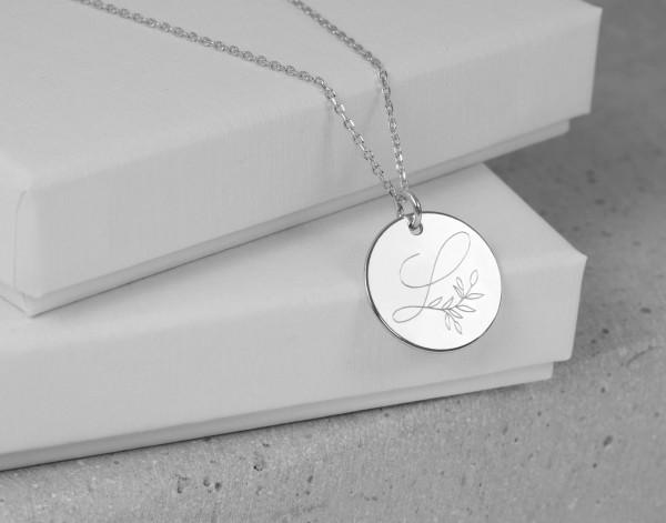 Kette Gravur Buchstabe Blätterranke Anhänger 925 Silber