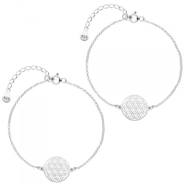 Mutter Tochter Lebensblume Armketten Set 925 Silber   Schmuck Blume des Lebens Armbänder