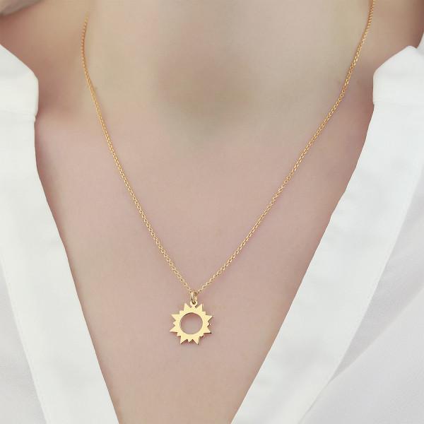 Halskette SONNE Anhänger 925 Silber vergoldet