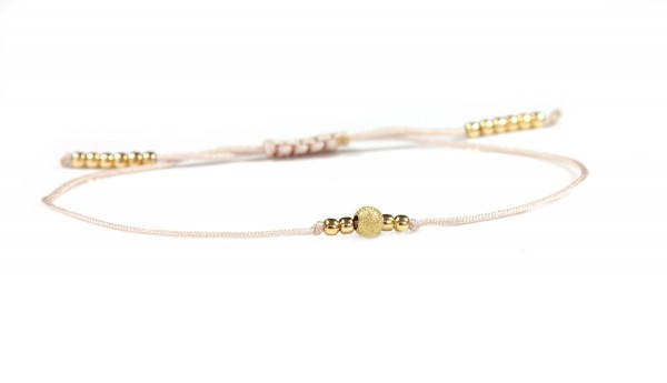 Textilarmband Silberperlen in Nude-Gold | Kugelarmband Individualiserbar 20 Farben