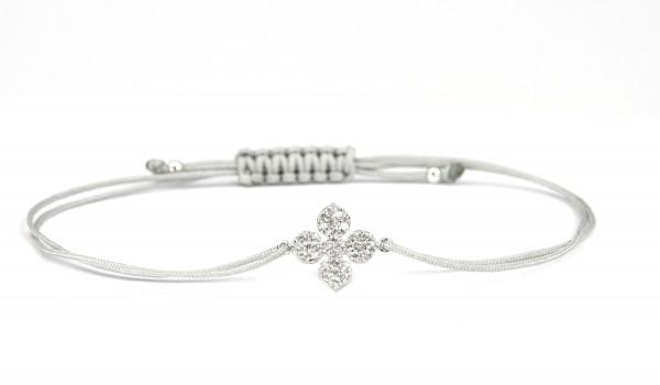 SCHOSCHON Damen Textil-Armband Kleeblatt Blume Zirkonia Blume 925 Silber Hellgrau
