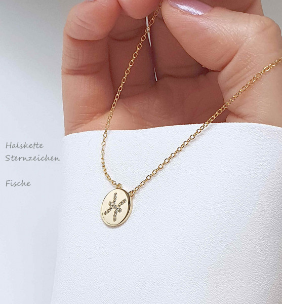 Halskette Sternzeichen Anhänger 925 Silber vergoldet Zirkonia