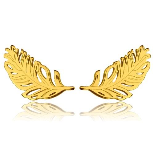 Ohrstecker Feder Federohrringe 925 Silber vergoldet