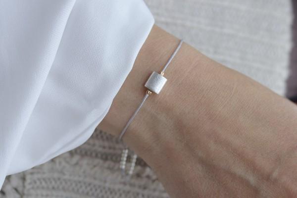 Textilarmband Silberelement in Grau, 925 Silber