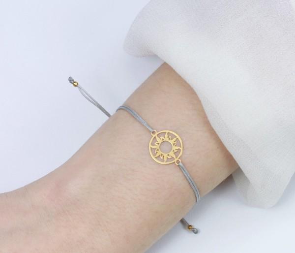 Armband Sonne 925 Silber vergoldet-Grau | Individualisierbar Freundschaftsarmband