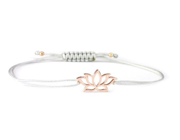 Armband Lotusblume 925 Silber rosevergoldet Hellgrau - Rosegold | Lotosblüte Lotus Seerose