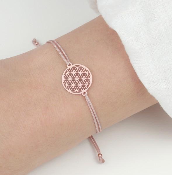 Blume des Lebens Armband, Rose-Nude 925 Silber rosevergoldet, Lebensblume Schmuck