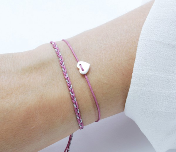 Textil Armband Set Herz 925 Silber Fuchsia-Silber