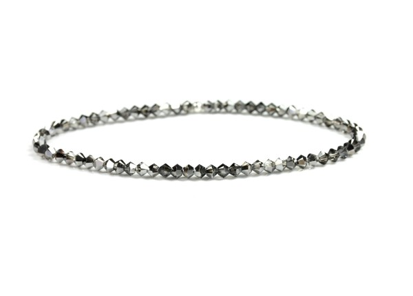 Glaskristallperlen Armband in Silbergrau