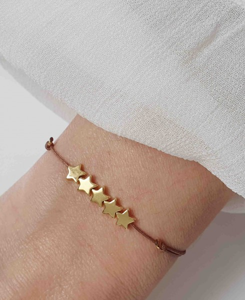 Armband Sterne 925 Silber vergoldet-Taupe dünn verstellbar | Armbändchen Sternchen Textil Schmuck