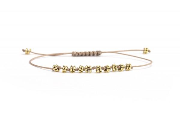 Armband Blumen Gold-Taupe 925 Silber vergoldet