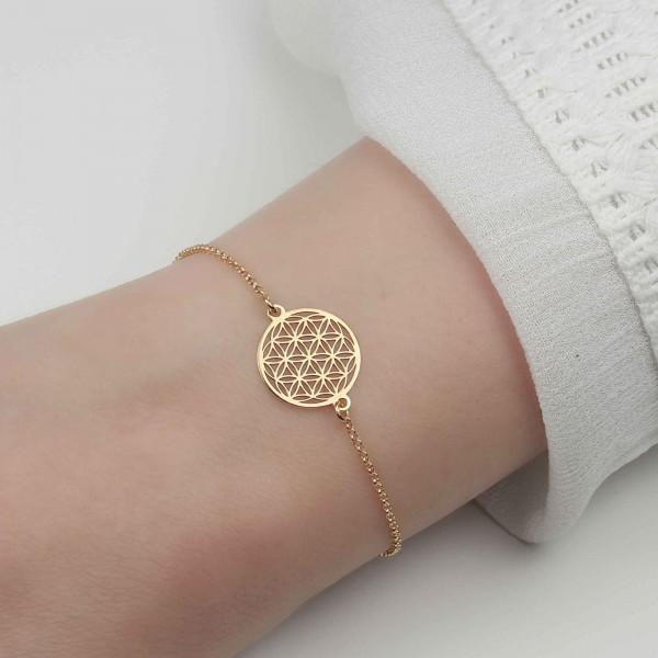 Armkette Blume des Lebens 925 Silber vergoldet | Lebensblume Armkettchen Armband Schmuck