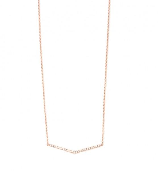 Collier Pfeilspitze 925 Silber rosevergoldet Zirkonia