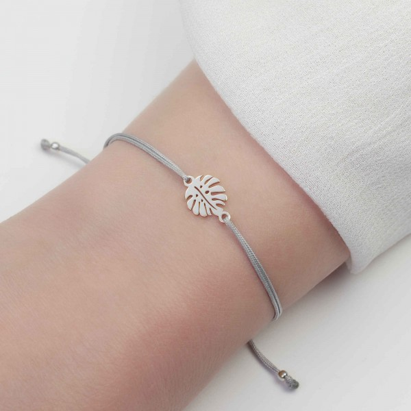 Armband Monstera Blatt 925 Silber | Freundschaftsarmband Fensterblatt Philodendron